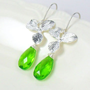 Neon Green Quartz Orchid Sterling Dangle Earrings