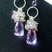 Lavender and Rose Quartz Prehnite Citrine Cluster Sterling Earrings