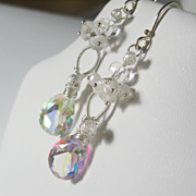 Snowflakes and Icicles Collection - Quartz Moonstone Cluster Dangle Earrings