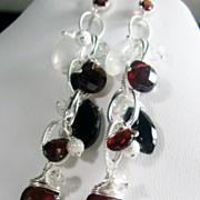 Garnet Spinel Moonstone Sterling Cascading Dangle Earrings