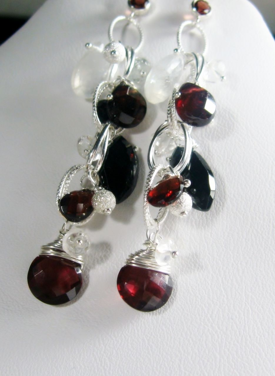 Garnet Spinel Moonstone Sterling Cascading Dangle Earrings