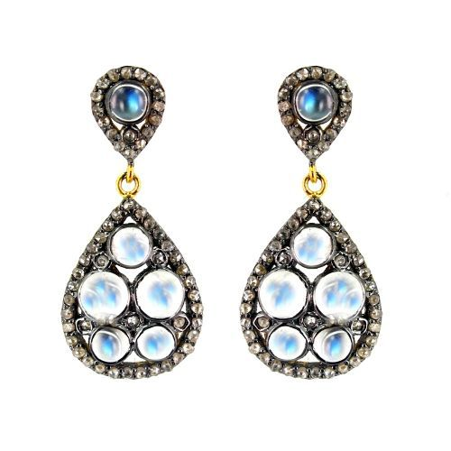 Moonstone Pave Diamond Teardrop Post Earrings