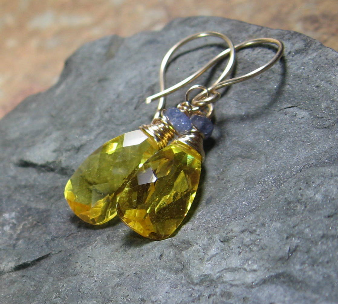 Yellow Quartz Tanzanite Gold Filled Drop Earrings