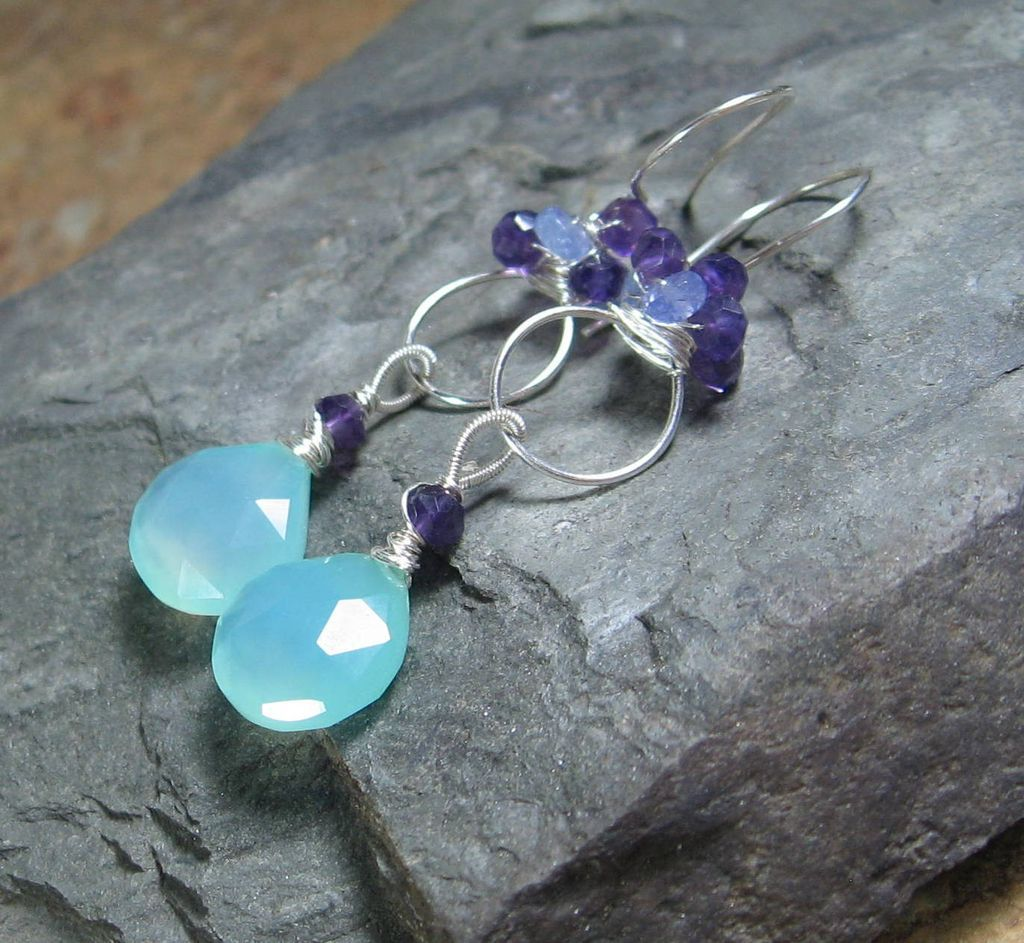 Aqua Chalcedony Amethyst Tanzanite Sterling Chandelier Earrings