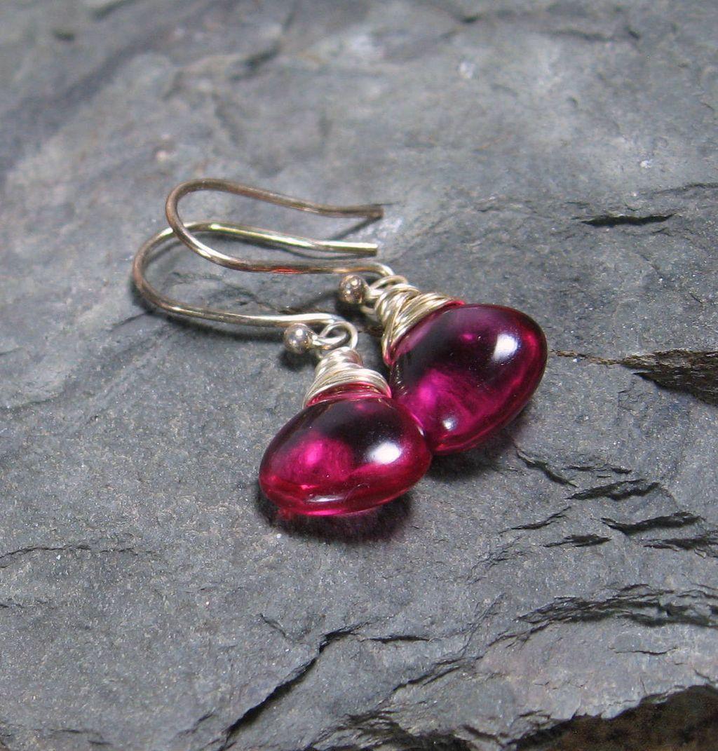 Berry Quartz Sterling Silver Drop Gemstone Earrings