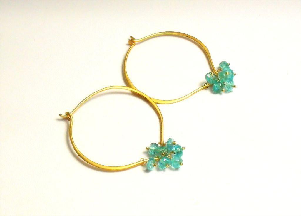 Apatite Gemstone Lotus Loop Gold Vermeil Hoop Earrings