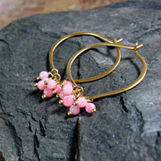 Soft Coral Vermeil Lotus Hoop Earrings