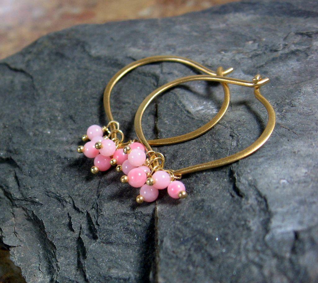 Soft Coral Vermeil Lotus Hoop Earrings