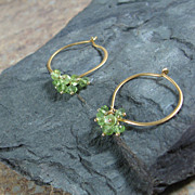 Peridot Gemstone Lotus Loop Gold Vermeil Hoop Earrings