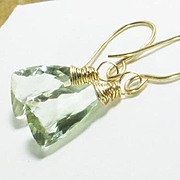 Green Quartz Gemstone Gold Filled Drop Earrings