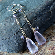 Pink Quartz Amethyst Gold Filled Dangle Earrings