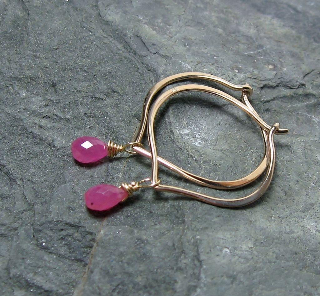 14K Gold Hoop Earrings, Sapphire briolettes