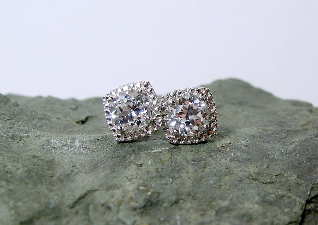 White Sapphire Diamond Post Earrings