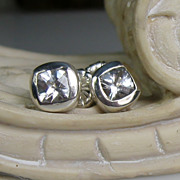 White Topaz Sterling 10K Gold Post Earrings