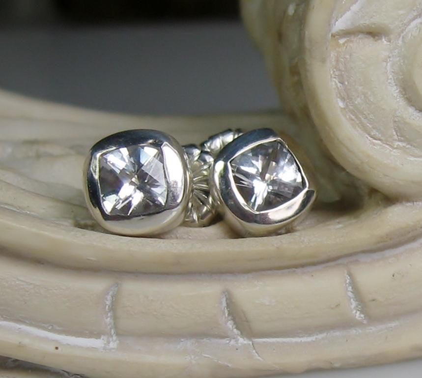 White Topaz Sterling 10K Gold Post Earrings