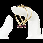 Garnet Gemstone Gold Dipped Lotus Hoop Earrings - Large