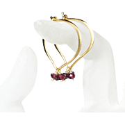 Garnet Gemstone Gold Dipped Lotus Hoop Earrings - Large