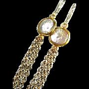 YEAR END SALE Pearl Gold Dangle Earrings, Shoulder Dusters