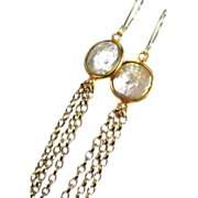 Pearl Gold Dangle Earrings, Shoulder Dusters