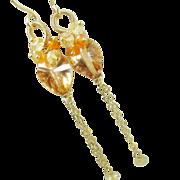 Apricot Quartz Carnelian Citrine Long Dangles, gemstone earrings, clusters