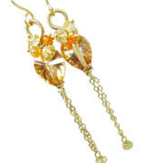 Apricot Quartz Carnelian Citrine Long Dangles, gemstone earrings, clusters