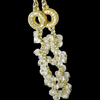 White topaz and quartz crystal cascading gemstone dangle earrings, gold, hand linked, bridal earrings