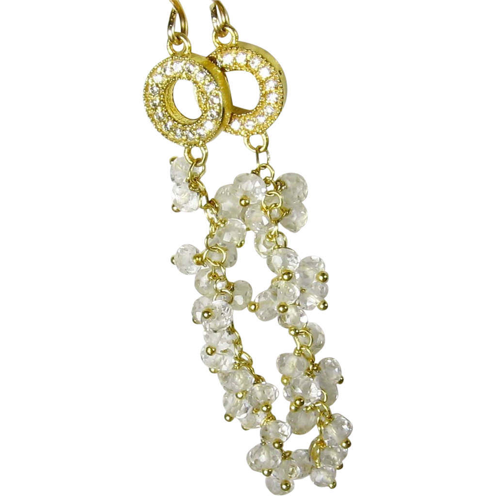 White topaz and quartz crystal cascading gemstone dangle earrings, gold, hand linked, bridal earrings