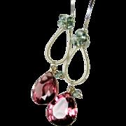 Mulberry Gemstone dangle earrings, sterling silver sculptured, berry and green Quartz gemstone earrings