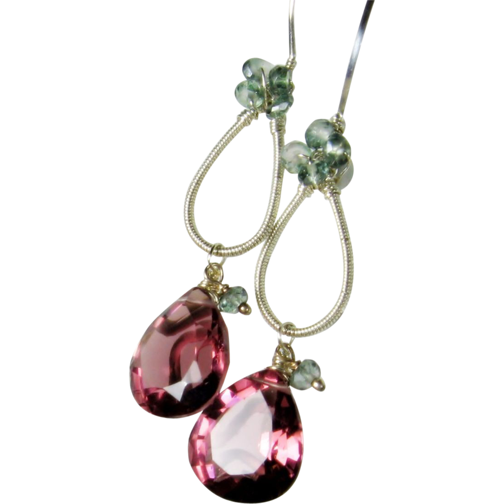 Mulberry Gemstone dangle earrings, sterling silver sculptured, berry and green Quartz gemstone earrings