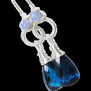 Blue dangles, sterling silver, quartz, tanzanite, gemstone chandelier earrings, wire wrapped, sculptured