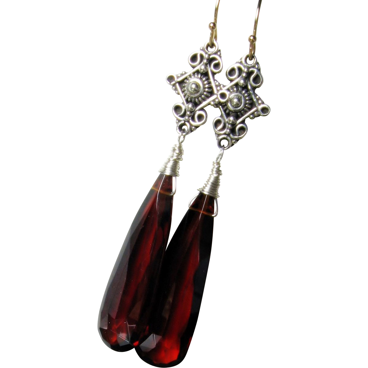Long dangle earrings, mozambique garnet quartz, sterling silver, 14k yellow gold, elongated gemstone earrings, wire wrapped, antique style