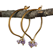Classic Light Amethyst Gemstone Hoops 24K Gold Vermeil Earrings