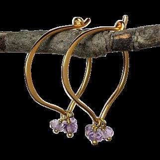 Classic Light Amethyst Gemstone Hoops 24K Gold Vermeil Earrings