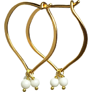 White Gemstone 24k Gold Vermeil Hoop Earrings