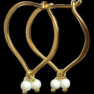 White Gemstone 24k Gold Vermeil Hoop Earrings
