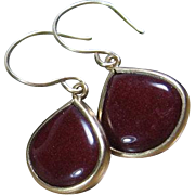 Burgundy Gemstone Drop Bezel Gold Earrings