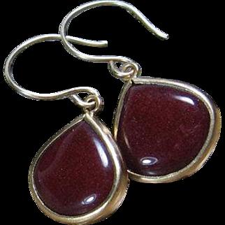 Burgundy Gemstone Drop Bezel Gold Earrings