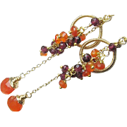 Chandelier, Carnelian, Garnet, Gemstone, Gold Filled Long Dangle Earrings