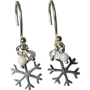 Snowflake Sterling Silver Petite Drop Dangle Earrings