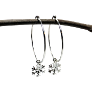 Snowflakes and Icicles Hoop Earrings, Sterling Silver