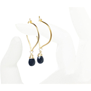 Black Spinel Gold Lotus Hoop Earrings, 24K Gold Vermeil