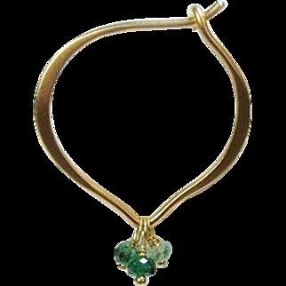 Emerald Hoops, Medium Gemstone Gold Lotus Earrings