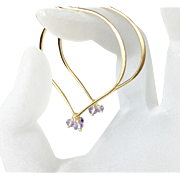 Pastel Amethyst Gemstone Large Gold Hoops, Lotus Earrings