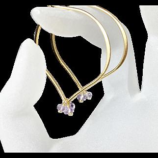 Pastel Amethyst Gemstone Large Gold Hoops, Lotus Earrings