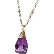 Alexandrite Quartz Solitaire Necklace