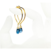 London Blue Topaz Gold Vermeil Hoop Earrings, Medium Size