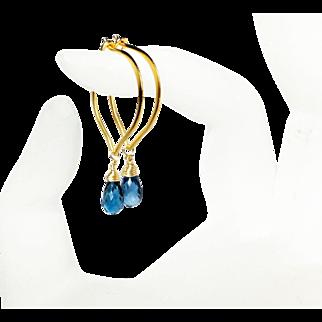 London Blue Topaz Gold Vermeil Hoop Earrings, Medium Size