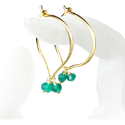 Green Onyx Gold Vermeil Hoop Earrings