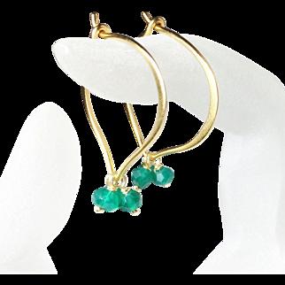 Green Onyx Gold Vermeil Hoop Earrings