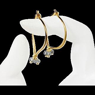 Labradorite Gemstone Gold Hoop Earrings, blue flash